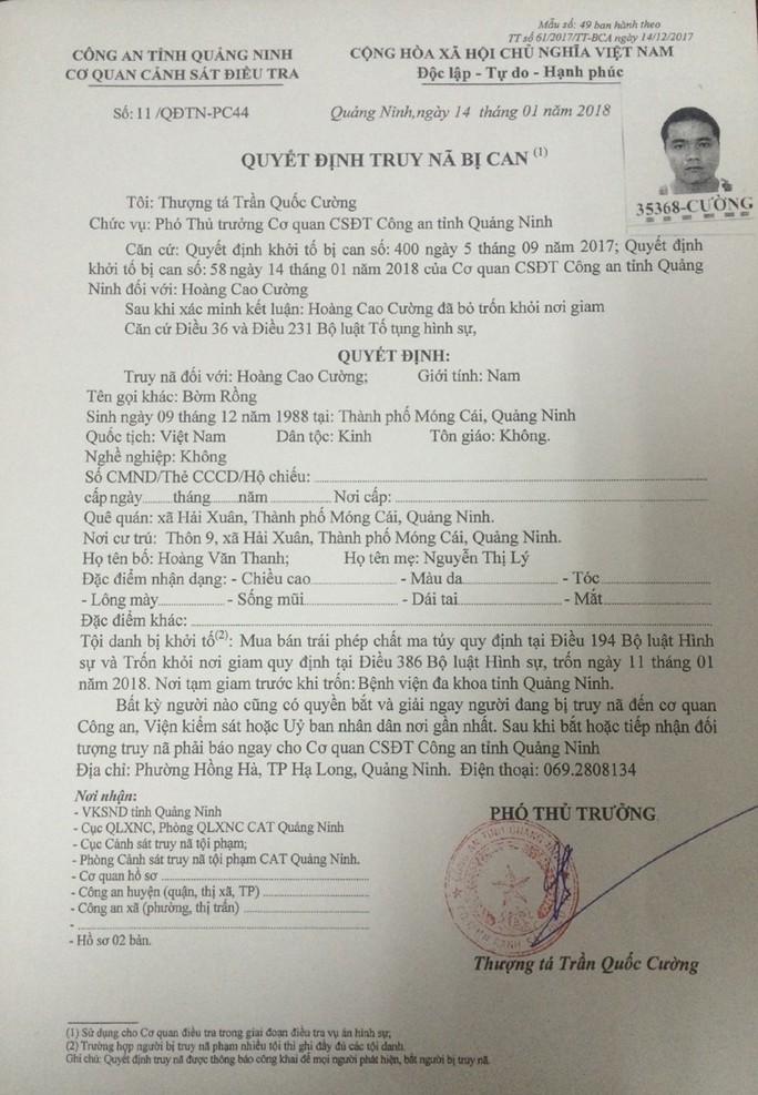 Truy nã 2 đối tượng ở Quảng Ninh trốn khỏi nơi giam giữ - Ảnh 1.