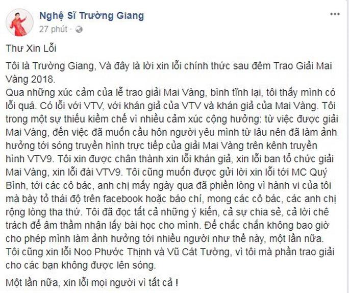 Trường Giang lên Facebook xin lỗi vụ cầu hôn tại Lễ trao Giải Mai Vàng - Ảnh 2.