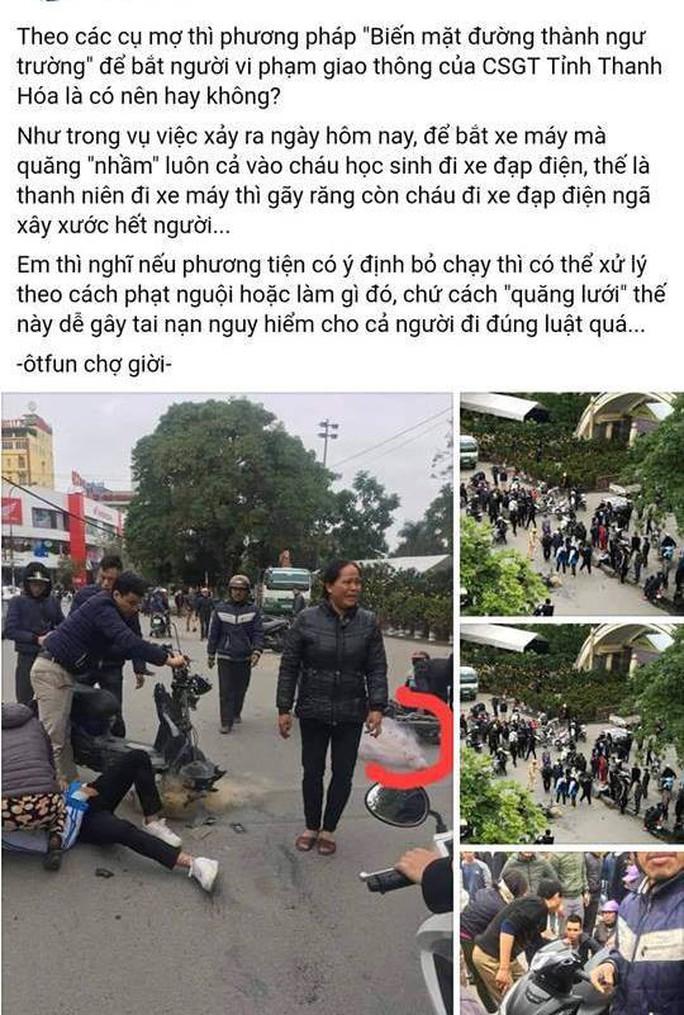 Thực hư việc CSGT Thanh Hóa quăng lưới trúng học sinh té ngã - Ảnh 1.