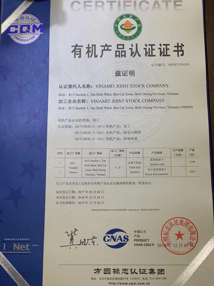 Vinamit - thương hiệu Việt đầu tiên đạt chứng nhận organic Trung Quốc - Ảnh 1.
