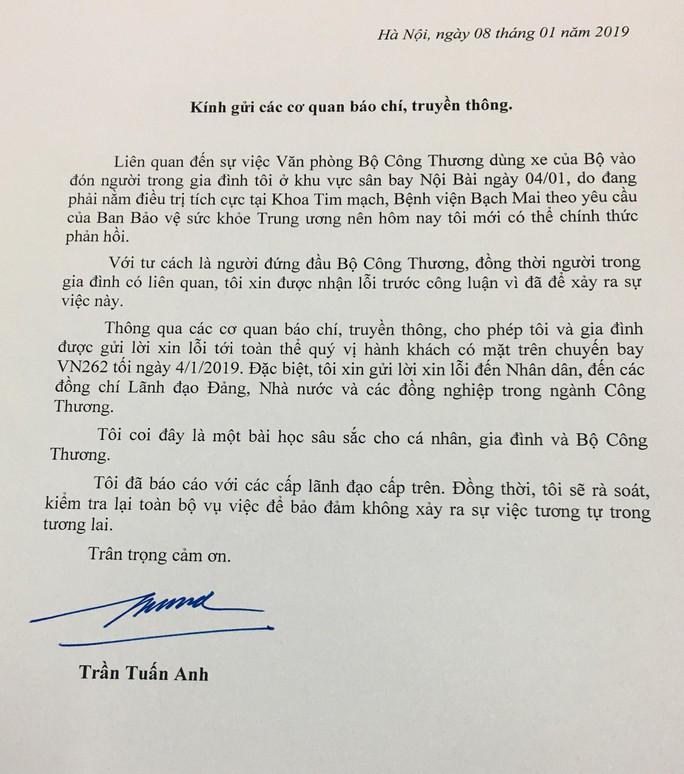Bộ trưởng Trần Tuấn Anh xin lỗi về việc dùng xe của Bộ Công Thương đón người nhà - Ảnh 2.