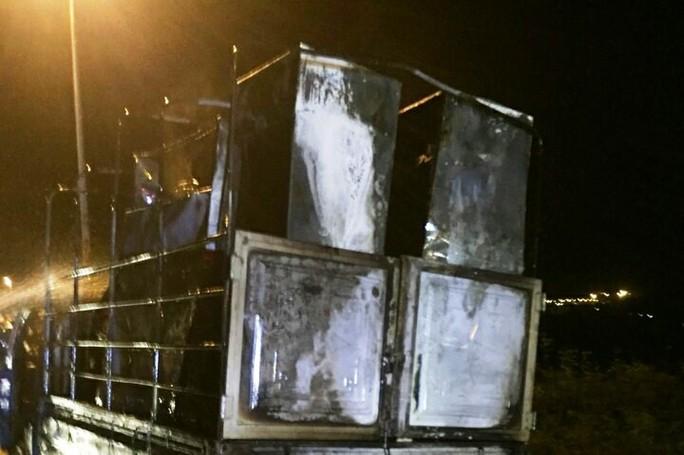 Xe tải bốc cháy dữ dội trong đêm, tài xế đạp cửa thoát thân - Ảnh 3.