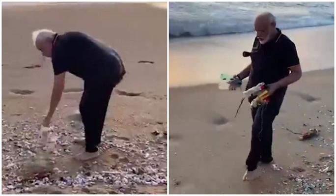 Thủ tướng Ấn Độ không ngại nhặt rác 30 phút trên bãi biển - Ảnh 2.
