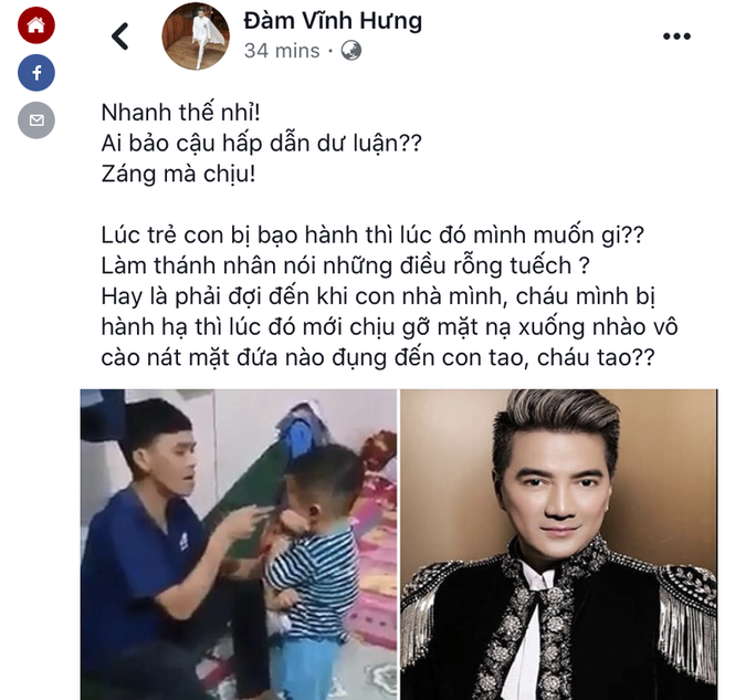Đàm Vĩnh Hưng treo thưởng 20 triệu, kêu gọi fan dạy dỗ người cha bạo hành con? - Ảnh 2.