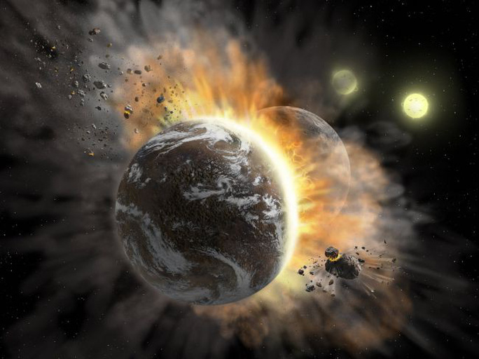 2 bản sao trái đất đâm sầm vào nhau, bắn mảnh vỡ khắp không gian - Ảnh 1.