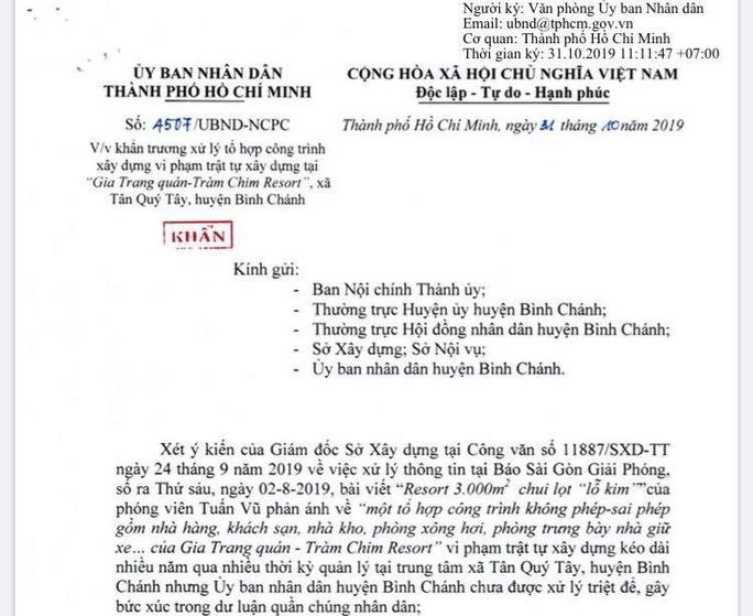 UBND TP HCM chỉ đạo cưỡng chế Gia Trang quán - Tràm Chim Resort - Ảnh 1.