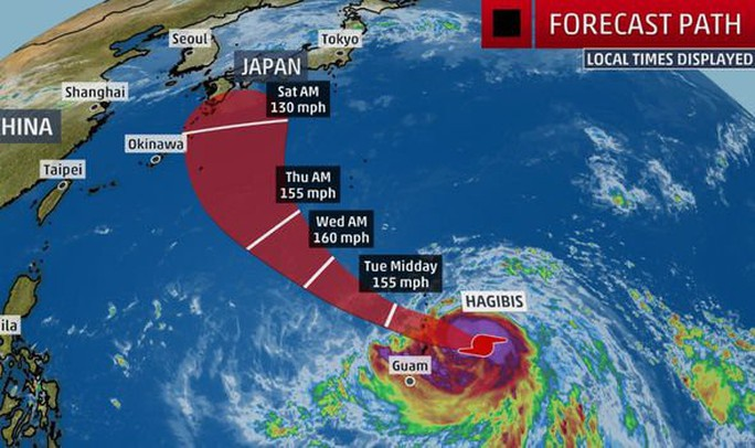 Từ bão nhiệt đới thành siêu bão cấp 5 trong 18 giờ, Hagibis đe dọa châu Á - Ảnh 1.