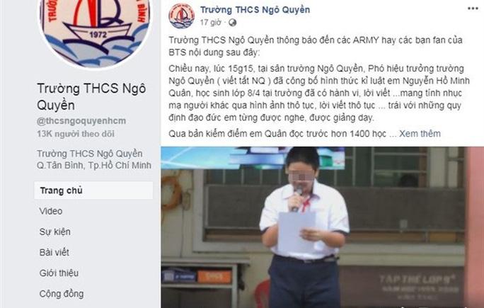 Bộ GD-ĐT lên tiếng vụ nam sinh bị kỷ luật vì xúc phạm nhóm BTS - Ảnh 1.