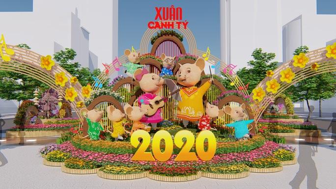 Nhiều tạo hình độc đáo ở đường hoa Nguyễn Huệ Tết Canh Tý 2020 - Ảnh 2.