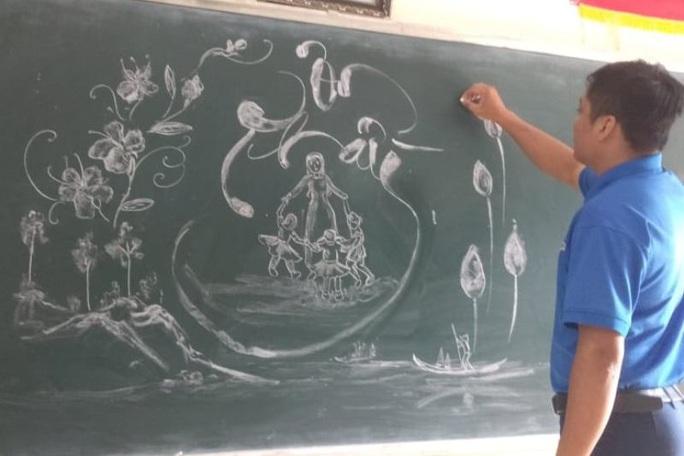 Thầy giáo vẽ tranh bằng phấn trắng trên bảng đen khiến học trò thích thú, cuốn hút mỗi giờ học - Ảnh 16.