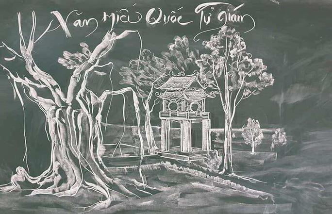Thầy giáo vẽ tranh bằng phấn trắng trên bảng đen khiến học trò thích thú, cuốn hút mỗi giờ học - Ảnh 3.