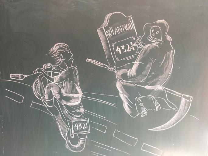Thầy giáo vẽ tranh bằng phấn trắng trên bảng đen khiến học trò thích thú, cuốn hút mỗi giờ học - Ảnh 12.