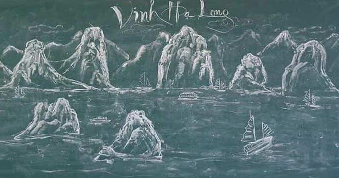 Thầy giáo vẽ tranh bằng phấn trắng trên bảng đen khiến học trò thích thú, cuốn hút mỗi giờ học - Ảnh 4.