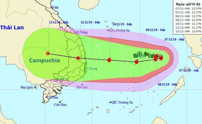 Bão số 6 đổi hướng 180 độ, giật cấp 13-14 hướng vào Nam Trung bộ - Ảnh 1.