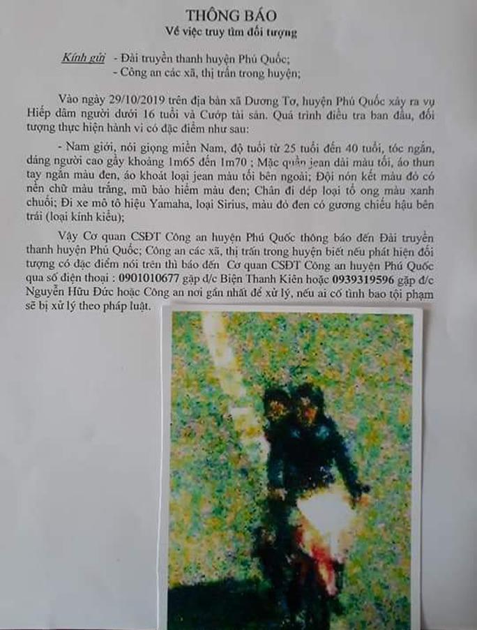 Công an Phú Quốc thông báo nhận dạng kẻ hiếp dâm bé gái 8 tuổi bán vé số - Ảnh 1.