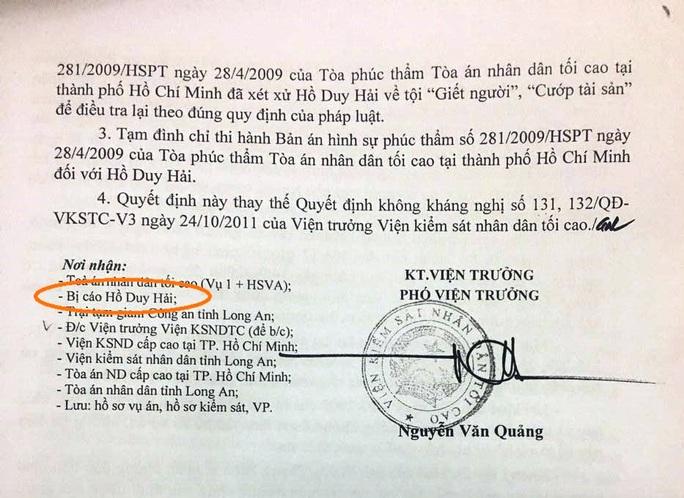 Tử tù Hồ Duy Hải chưa nhận được kháng nghị của VKSND Tối cao? - Ảnh 1.