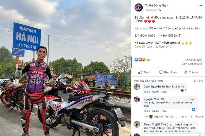Đề nghị xử lý nghiêm phượt thủ chạy xe máy từ TP HCM ra Hà Nội chỉ hết gần 20 giờ - Ảnh 1.