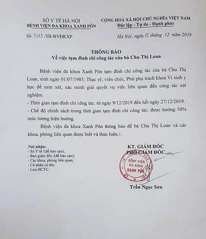 Đình chỉ 3 nhân viên Bệnh viện Xanh Pôn vì nghi án gian lận xét nghiệm HIV và viêm gan B - Ảnh 2.