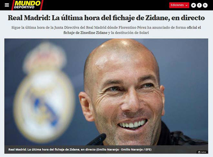 Báo chí thế giới ngỡ ngàng ngày Zidane trở lại Real Madrid - Ảnh 5.