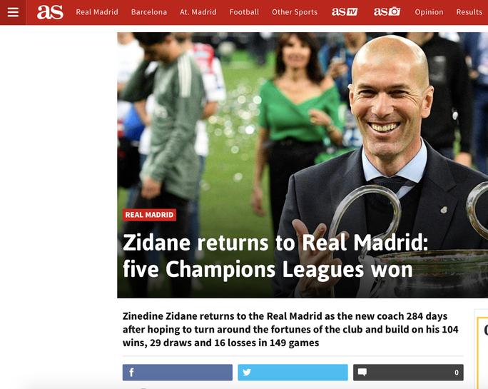 Báo chí thế giới ngỡ ngàng ngày Zidane trở lại Real Madrid - Ảnh 4.