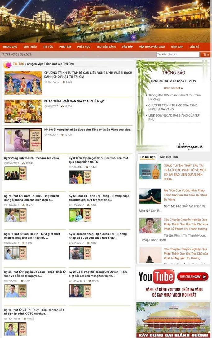 Website chùa Ba Vàng đã phải dừng hoạt động - Ảnh 2.