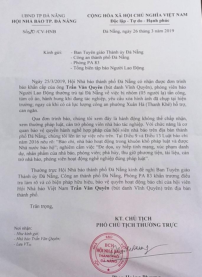 Hội Nhà báo lên tiếng vụ phóng viên Báo Người Lao Động bị hành hung - Ảnh 1.