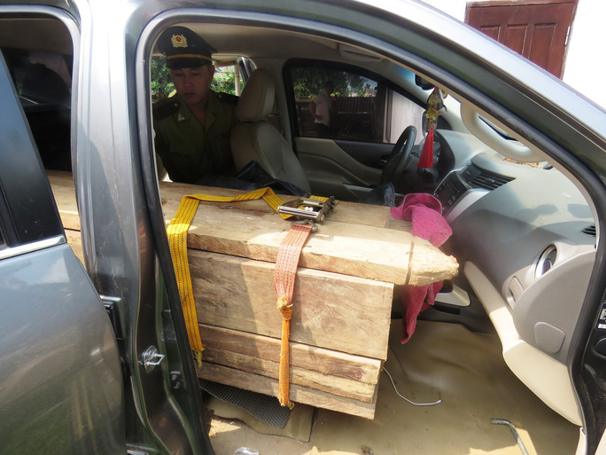 Bắt ôtô gắn biển số giả, chở gỗ lậu - Ảnh 1.