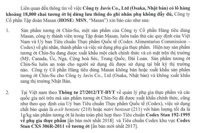 Masan giải thích gì về vụ 18.000 chai tương ớt Chin-su bị thu hồi ở Nhật? - Ảnh 2.