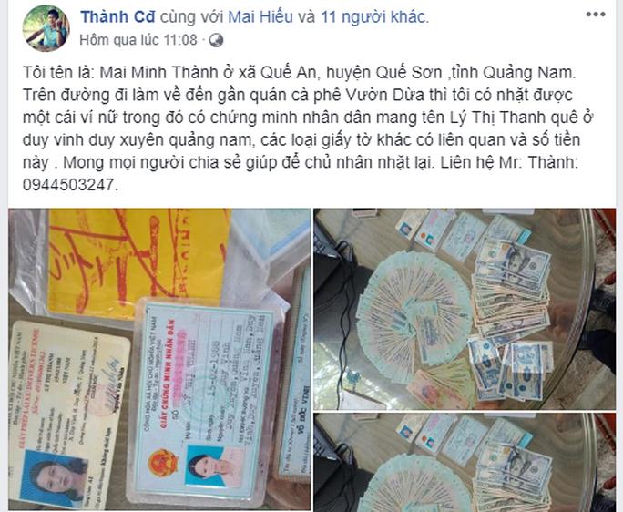 Nhặt được gần 50 triệu đồng, lên Facebook tìm chủ nhân trả lại - Ảnh 1.