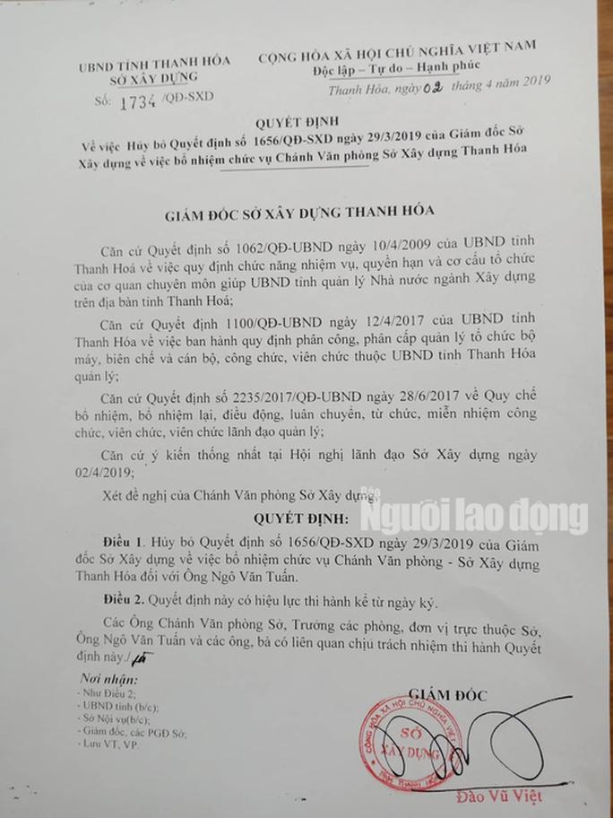 Hủy quyết định bổ nhiệm ông Ngô Văn Tuấn làm chánh Văn phòng Sở Xây dựng Thanh Hóa - Ảnh 1.