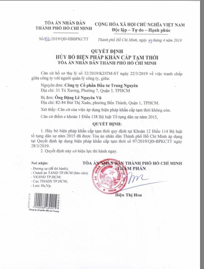 Tòa án bỏ biện pháp khẩn cấp tạm thời đối với Công ty CP Đầu tư Trung Nguyên - Ảnh 1.