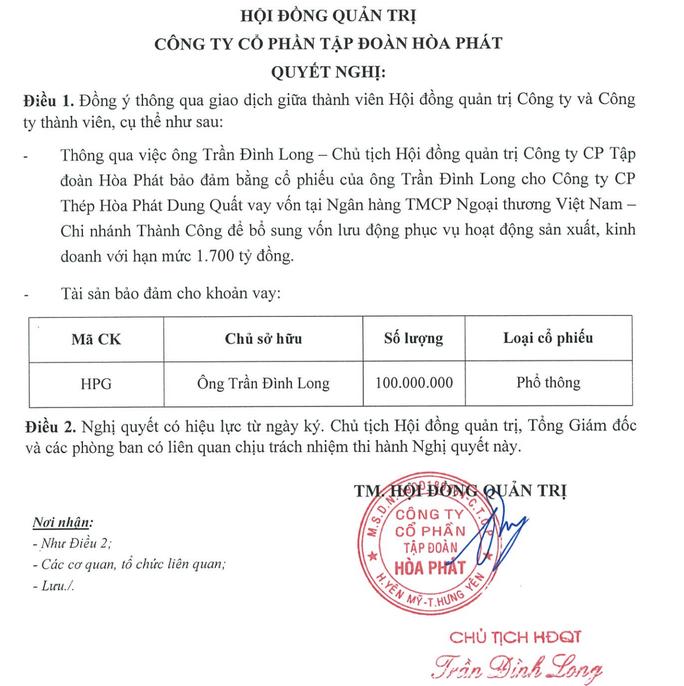 Ông Trần Đình Long thế chấp 100 triệu cổ phiếu vay 1.700 tỉ đồng cho dự án thép Dung Quất - Ảnh 1.