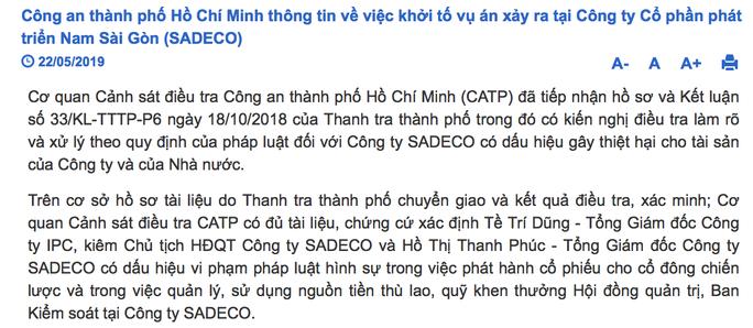 Công an TP HCM chính thức lên tiếng vụ bắt ông Tề Trí Dũng và bà Hồ Thị Thanh Phúc - Ảnh 2.
