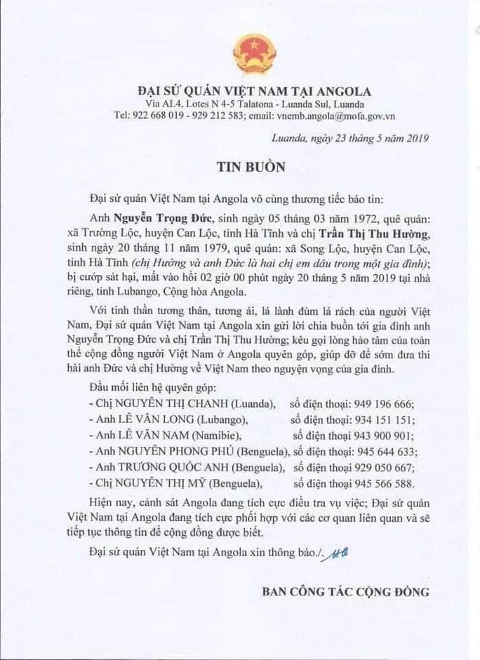 Chị dâu và em chồng người Việt Nam bị sát hại tại nhà riêng ở Angola - Ảnh 1.