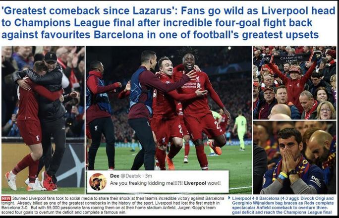 Loại Barcelona, Liverpool gây choáng truyền thông thế giới - Ảnh 8.