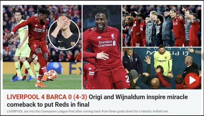 Loại Barcelona, Liverpool gây choáng truyền thông thế giới - Ảnh 9.