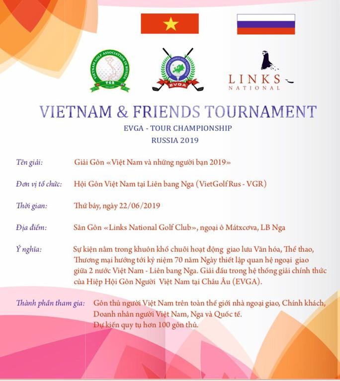 """Hấp dẫn Giải Golf """"Vietnam và những người bạn 2019"""" tại Nga - Ảnh 1."""