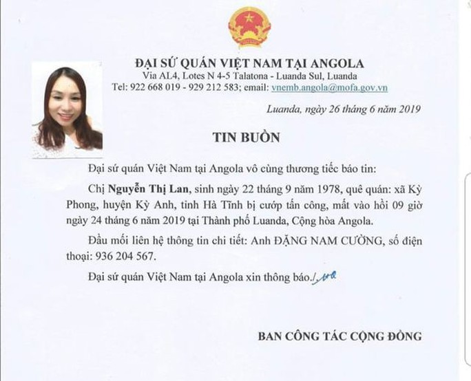 Một nữ lao động Việt bị cướp sát hại khi đang cầm túi tiền tại Angola - Ảnh 1.