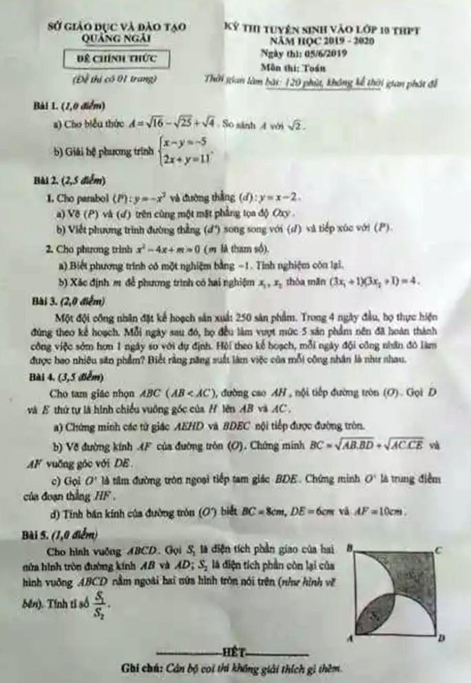 Xôn xao đề thi vào lớp 10 ở Quảng Ngãi giống đề thi thử - Ảnh 2.