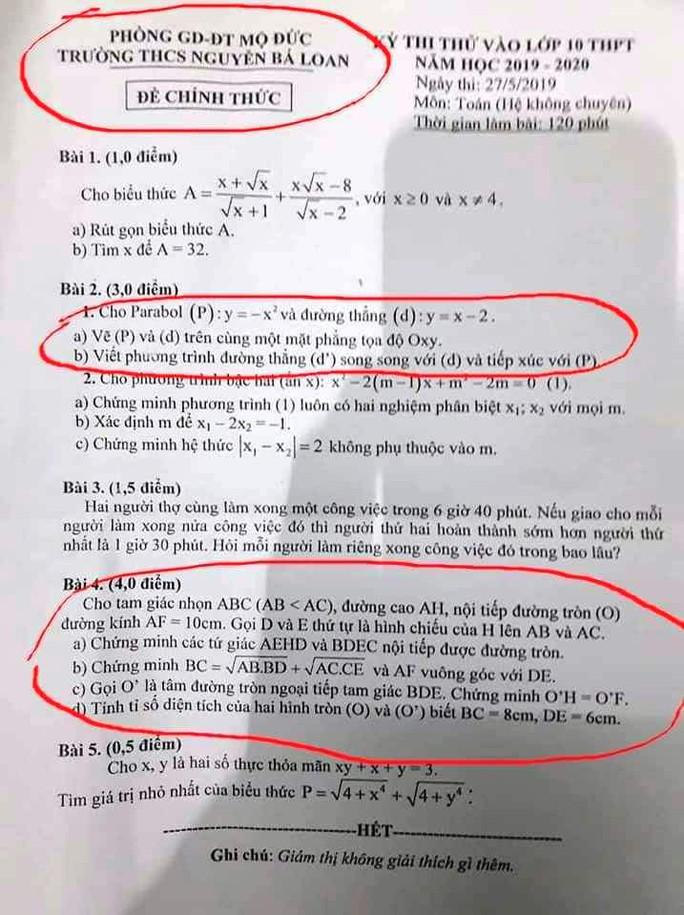 Xôn xao đề thi vào lớp 10 ở Quảng Ngãi giống đề thi thử - Ảnh 1.