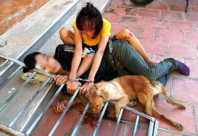 Cặp tình nhân trộm chó bị đánh hội đồng, xích cùng nhau bên tang vật - Ảnh 1.