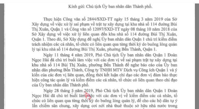 Quận 1 không thể xử được cá nhân liên quan sai phạm tại khu nhà 114 Bùi Thị Xuân - Ảnh 1.