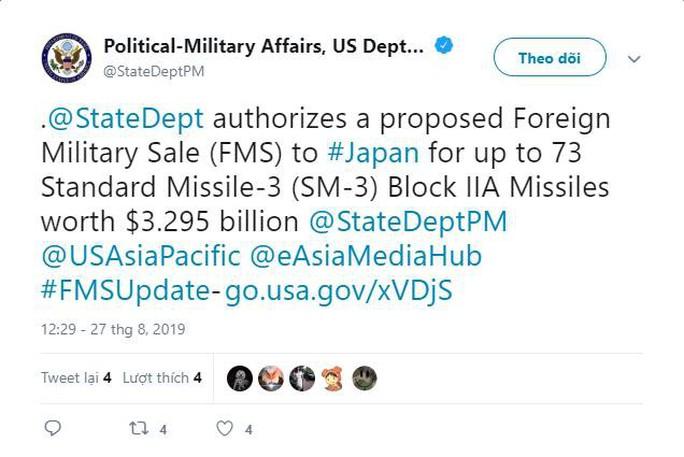 Bộ Ngoại giao Mỹ đồng ý bán tên lửa cho Nhật Bản với 3,3 tỉ USD - Ảnh 1.