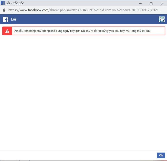 Facebook bị lỗi, người dùng không post được gì - Ảnh 2.