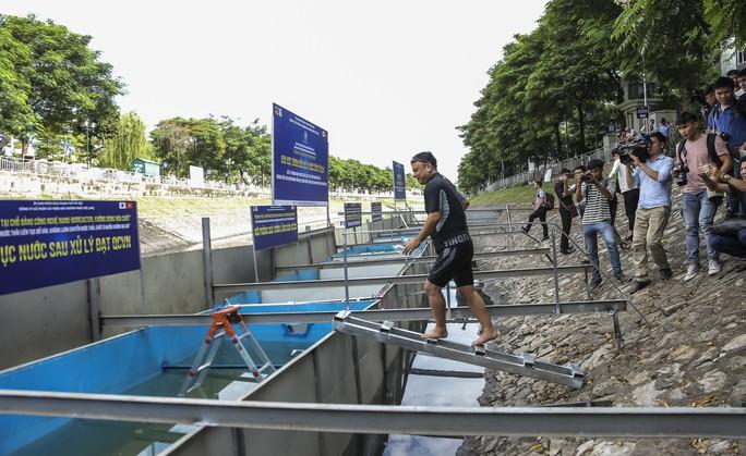Clip: Chuyên gia Nhật Bản ngâm mình tắm nước sông Tô Lịch - Ảnh 5.