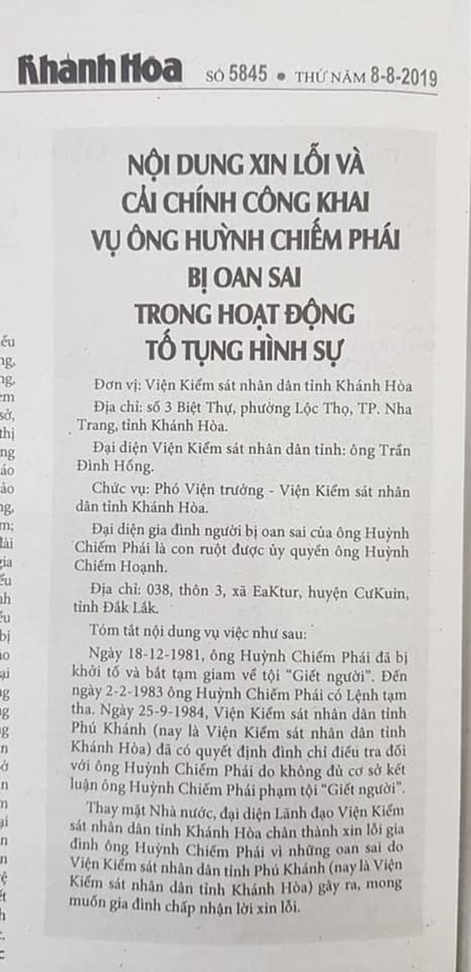 """Viện KSND Khánh Hòa xin lỗi gia đình người """"đến chết vẫn chưa được bồi thường oan sai"""" - Ảnh 1."""