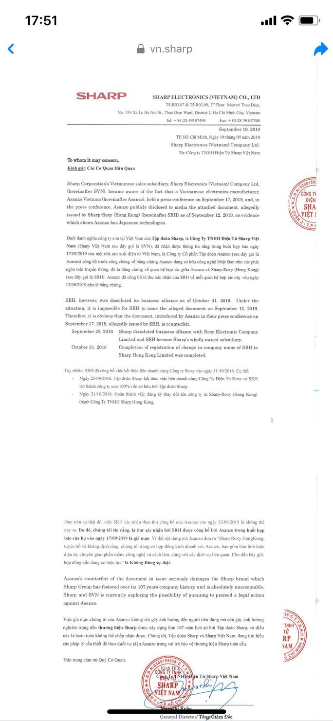 Asanzo bị Sharp Việt Nam yêu cầu xin lỗi, tố cáo lên Bộ Công an - Ảnh 1.