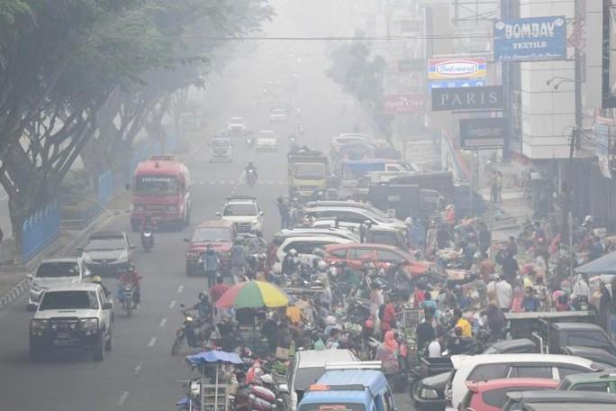 Indonesia mịt mù khói bụi, máy bay cất cánh dù tầm nhìn hạn chế - Ảnh 2.