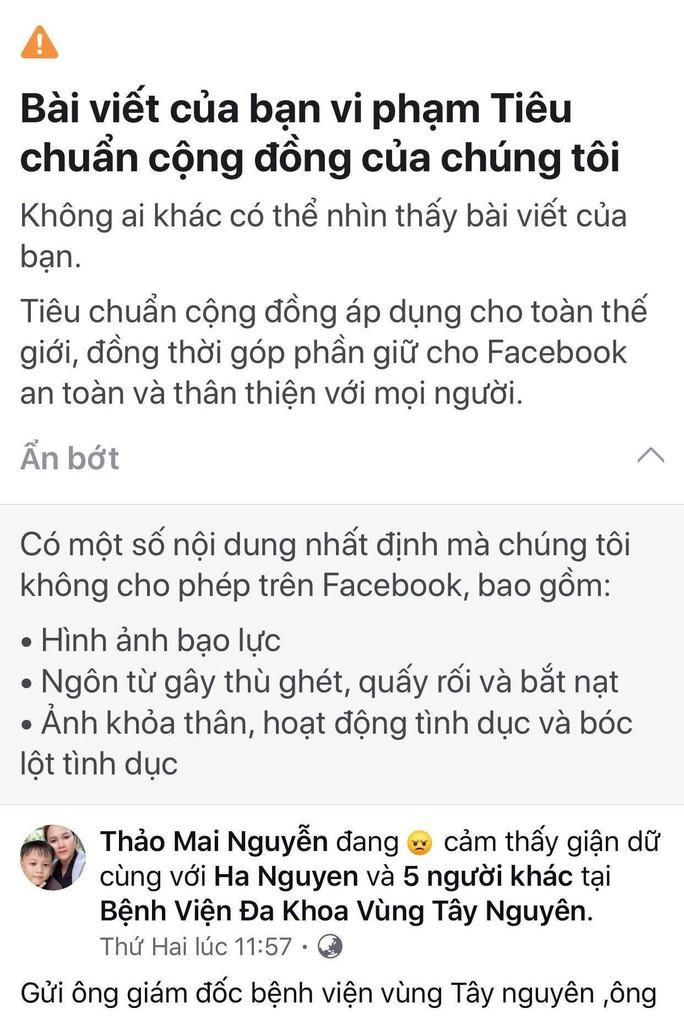 Vụ thư gửi giám đốc bệnh viện gây xôn xao: Facebook ẩn bài viết vì vi phạm tiêu chuẩn cộng đồng - Ảnh 1.