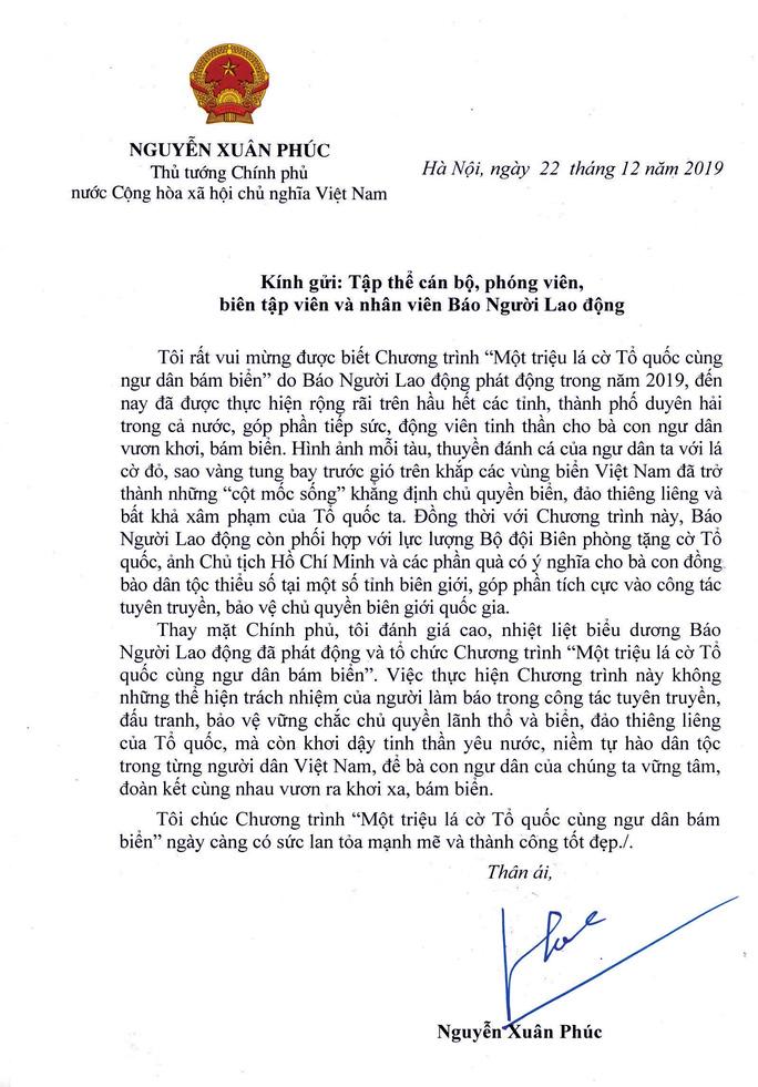 Thủ tướng Nguyễn Xuân Phúc gửi thư khen Báo Người Lao Động - Ảnh 1.